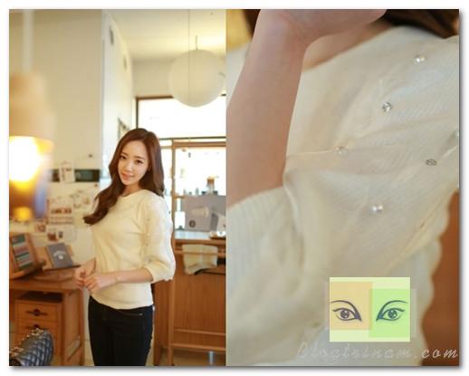 Các loại hạt được đính cầu kỳ giúp tạo điểm nhấn cho cả những chiếc áo đơn giản nhất