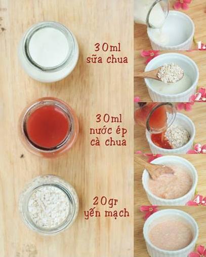 Mặt nạ trị nám sau sinh từ bột yến mạnh, cà chua và sữa chua